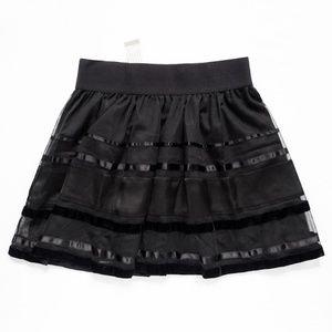 """Velvet Detail Sheer Top Layer Skirt M (27"""" x 17"""")"""